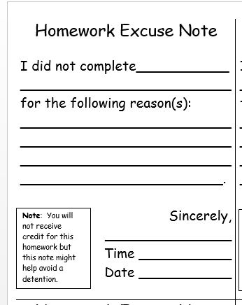 homework excuse note