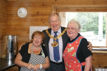 My dad when he was mayor at a Macmillan coffee morning. I think he slept in those chains.